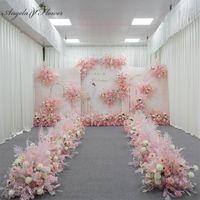 장식 꽃 화환 사용자 지정 핑크 시리즈 결혼식 꽃꽂이 인공 꽃 행 테이블 도로 리드 T 무대 배경 모서리 bal