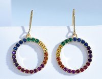 S925 Silver Chandelier Female Trendy Handmade Ring Inlaid Colorful Zircon Earrings