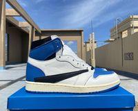 Autentiska Mens High Og 1s Travis Scotts x Fragment Basket Skor Jumpman 1 Kvinnor Top Kalv Läder Militär Blå Luxurys Designers Topsportmarket Sneakers