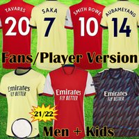 Vista Fans Versão Arsen Soccer Jerseys Gunners 21 22 Smith Rowe 10 Tavares Pepe Saka Thomas Willian Tierney Camisa de futebol Men Kit + Kids Equipment Tops