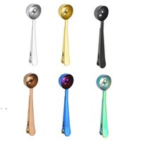 NEW Stainless Steel Coffee Measuring Spoon With Bag Seal Clip Multifunction Jelly Ice Cream Fruit Scoop Spoon Kitchen Accessories OWD8933