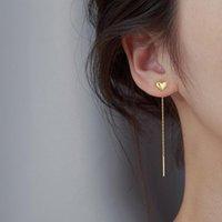 Dangle & Chandelier Trendy Jewelry Heart Earrings Simply Deign Sweet Korean Temperament Single Chain Drop For Girl Fine Accessories