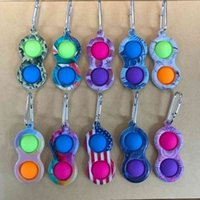 Fidget Toy Key Chain Keychain Finger Toys Pop Push Bubble Board Game Sensory Stress Reliever Colored print H31PUXD