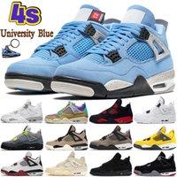 Universidad Azul 4 4S Zapatos de baloncesto para hombre Blanco Oreo Metálico Púrpura Black Cat Cred Shimmer Cactus Jack Men Mujer Sneakers US 5.5-13
