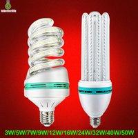 E27 LED lampadina di mais u a forma di spirale 85-265V 3000K / 6500K 3W 5W 7W 9W 12W 18W 24W 32W luci a risparmio energetico per la casa