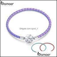 Charm Bracelets Jewelrybamoer 925 Sterling Sier Lucky Three Color Real Leather Bracelet Clover European For Women Diy Fine Jewelry Drop Deli