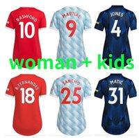 맨체스터 여성 유니폼 21 22 Ronaldo Girls 축구 유니폼 Sancho Man Cavani Utd Van de Beek 2021 2022 Rashford 숙녀 축구 셔츠 여성 멀리 멀리 셋째 유나이티드