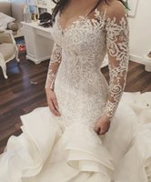 Sheer Malha Top Lace Sereia Vestidos de Noiva 2019 Tulle Lace Applique Cristais Frisados Mangas Longas Casamento Vestidos Noiva com Trem Destacável