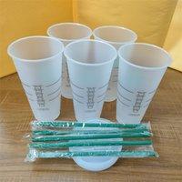Starbucks 24oz / 710ml 플라스틱 텀블러 머그잔 재사용 가능한 명확한 마시는 플랫 컵 기둥 모양 뚜껑 짚 바디안 50pcs