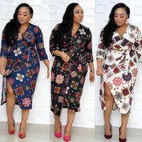 Indie Folk African Plus Size Dress Office V Neck Lace Up Floral Print Women Autumn Summer Slim Irregular Dresses Vestidos Casual