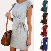 Kadın Yuvarlak Yaka Lace Up Zarif Günlük Elbiseler Ofis Bayan Parti / Çalışma Elbise Artı Boyutu 2XL Vestidos Shortlong Sleeve B2PP #