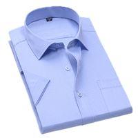 Aoliwen Marca Azul Azul Casual Anti-Wrinkle Pray Premium Camisa Camisa de Manga Curta 210322
