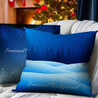 Pillow Case Nanacoba Christmas Cover Blue Cushion Snowflake Tree Pattern For Home Sofa Couch Chair Decorative Throw Pillowcase