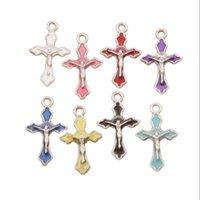 Emaille Crucifix Cross Jesus Charms Anhänger 200 teile / los 8farbig 14x22.5mm Modeschmuck DIY Fit Armbänder Halskette Ohrringe L499