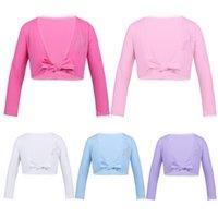 Jackets Kids Girls Classic Long Sleeve Ballet Wrap Top Cotton Dance Cardigan Gymnastics Leotard Costumes Dancewear Crop Coats