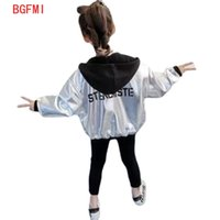 Kids Sport Leather Jacket Fall Girls Hoodies Coat Reflective Silver Long Sleeve Outerwear Polyester Breathable Girl Windbreaker 210907