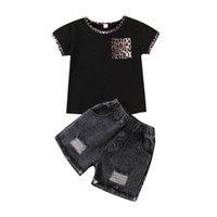 Mädchen Outfits Kinder Sets Babyanzüge Kleidung Sommer Leopard Kurzarm T Shirt Denim Loch Jeans Shorts Hosen 2 stücke Kinder Kleidung 2-6T B4624