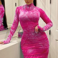 Casual Dresses Elegant Sexy Long Sleeve Ladies Women Bodice Evening Club Party Female Clothing Plus Size Pleated Street Wear Prom