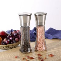 6.5*19cm Stainless Steel Salt and Pepper Mill Shakers Glass Body Salts Peppers Grinder with Adjustable Ceramic Rotor JJA112