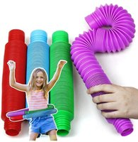 US Stock Pop Tubes Sensory Toys for Autistic Children Adults Stree Reliever Toys Stretchy Tubes DHL Ship