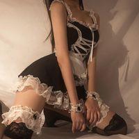 재미 있은 귀여운 소녀 나이트 클럽 클럽 유니폼 프랑스어 섹시한 하녀 앞치마 레이스 드레스 블랙 홈 주방 여성 앞치마 유혹 액세서리