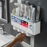 Bath Accessory Set GUNOT Magnetic Adsorption Toothbrush Holder Automatic Toothpaste Squeezer Dispenser Wall Mount Storage Rack Bathroom Acce