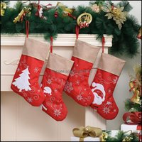Decorações de Natal Festa Festiva Fontes Home Gardenchristmas Cartoon Meias Santa Rena Snowflake Padrão Doces Doces Saco De Presente S
