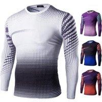 Drucken schnell trockener langarm slim tees herren sport tshirt radfahren mens designer tshirts mode 3d