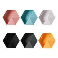 Hooks & Rails Hexagon Wall Shelves Storage Box Honeycomb Geometric Holders Living Room Bedroom Bathroom Dormitories Decorations