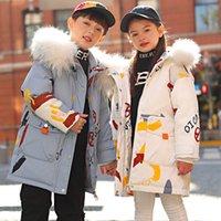 Niños abajo abrigo niños Outwear Outwear Adolescente Boys Ropa Ropa de chicas Chaqueta para niños Cuello de piel largo Abrigos con capucha Cálido B8423