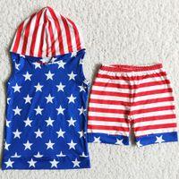 أطفال مصمم ملابس الأولاد مجموعات 4 يوليو 4 الصيف أزياء طفل رضيع الصبي الملابس هوديي مجموعة نجمة طباعة السراويل الاستقلال يوم الطفل طفل ملابس الحمراء الأزرق