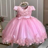 Pink Ball Gown Flower Girl Dresses For Wedding Short Sleeves Beaded Toddler 3D Appliqued Backless Pageant Gowns With Bow Sash First Communion Dress