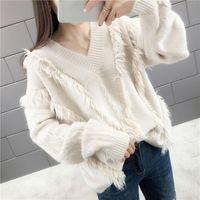 الخريف الشتاء المرأة سترة الكورية الأزياء محبوك قمم البلوز المرأة الملابس طويلة الأكمام فضفاضة الصلبة البلوز الأساسية