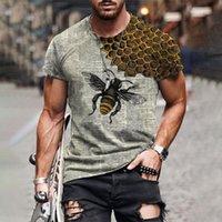 Men's T-Shirts 3D Bee Printing Hip Hop Men T Shirt Streetwear Short Sleeve Personality Fashion Short-sleeved T-Shirt