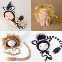 Nouveau-né Photographie Vêtements Lion Zebra Design Laine Bébé Baby Boy Girl Photos Tenue Lionet Hat + Queue 2pcs Costumes 1028