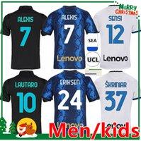 Inter Jerseys Vidal Barella Milan Lautaro Eriksen Alexis Football Shirt 2021 2022 Accueil Uniformes Kit enfants + Hommes