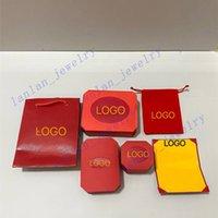 Luxus Schmuck Verpackungsbox Rot Halskette Armband Ring Geschenkboxen Handtasche Kartenzertifikat Set