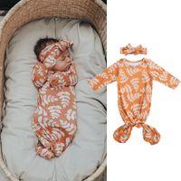 0-6 m Yenidoğan Bebek Kız Erkek Uyku Tulumları Baskı Uzun Kollu Ayarlanabilir Tam Vücut Giyim Yaprakları Yaprakları
