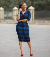 Azul xadrez Mulheres Bodycon Dress Verão Vintage Escritório Senhora Trabalho Midi Vestidos Robe Africano 2020 Cintura Retro Vestido Feminino Verde Dres V0JB #
