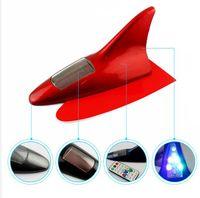 10LED Araba Uyarı Işıkları Güneş Lambaları Powered LED Yanıp Sönen Köpekbalığı Yüzgeci Uyarısı Kuyruk Işık Kontrol Üniversal Anteni CJ