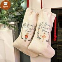 DIY Sublimation Blank Bgas Printing Linen Stockings Christmas Decoration Socks Halloween Advertising Drawstring Santa Sack Large Gift Kids Personalized dw