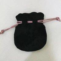 Розовая лента бархатный мешок для бусины очарование браслет женщины оригинальные украшения подарок на день рождения черные сумки внешняя упаковка
