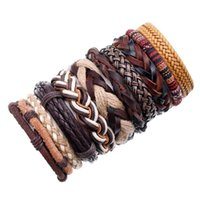 Fashion Bracelets 10 Piece   Set Woven Bracelet Men Women Leather Bangle For Wholesale Jewelry Gift Charm
