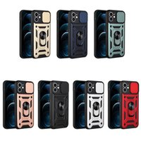 Armor Cases Rings Holder Cover Shockproof With Car magnetic Sliding window for iPhone13 12 pro max 11 XR XS 8 SamsungS21 S20 Ultra plus A01 A10s A11 A02 A02s LG MOTO