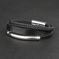 Fashion Bracelet Multilayer Woven Men's Leather Rope Titanium Steel Simple Stainless Magnetic Buckle Jewelry