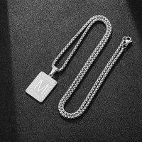 Pendant Necklaces Name Initial For Women Men Silver Color Letter Card Link Chain Necklace Jewelry Drop