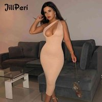 Dress Jillperi Double Layered Jersey Chest Cut Out One Shoulder Bodycon Midi Women Stretchy Solid Sexy Party Night Club