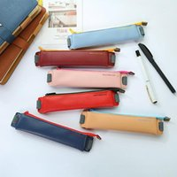Fashion Buckle Elastic Belt PU Leather Students Stationery Bags Pen Bag Pencil Case Portable Office School Supplies