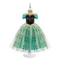 Robe de princesse pour fille neige reine 2 manches courtes Snowflake Sash Cosplay Costume Fantaisie Costume Halloween Pageant Vêtements Enfants Vêtements Vert 3249 Q2