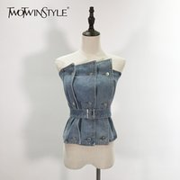 TWOTWINSTYLE Sexy Irregular Women's Vests Strapless Sleeveless High Waist With Sashes Vest For Female Fashion Clothing Tide 210326